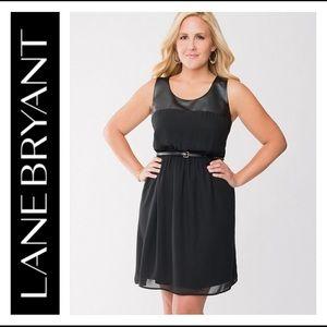🍁 Lane Bryant Faux Leather & Chiffon Dress 🍁